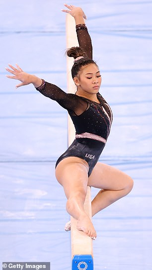 The leotards are all custom-made for the gymnasts wearing them, designed to perfectly fit their different bodies (Lee pictured)