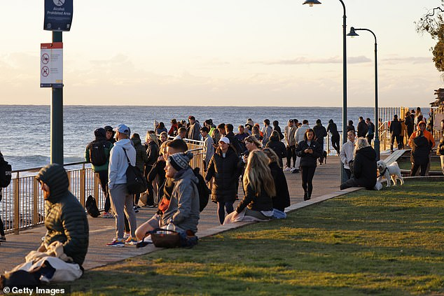 Crowds were seen enjoying the morning sun on Thursday on the eastern beaches of Sydney (pictured)