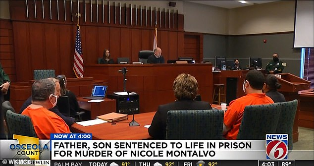 Christopher Otero-Rivera (pictured in orange, right) and his father, Angel Luis Rivera (left), were sentenced Wednesday in Florida to life imprisonment, plus 20 years each, for the murder of Nicole Montalvo