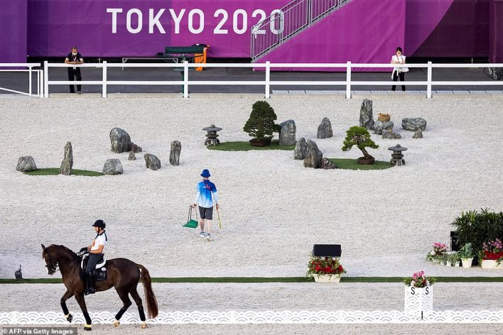 Eduardo Alvarez Aznar of Spain takes part in the familiarization for the equestrian dressage event at the equestrian Park
