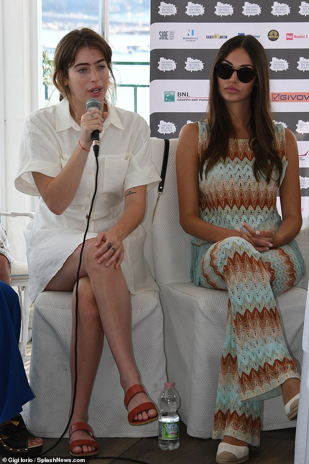 Having her say: Clara also got to speak at the event (pictured left, with another guest right)