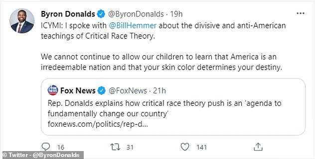 De Republikeinse wetgever van Florida, Byron Donalds, bekritiseerde ook de Critical Race Theory