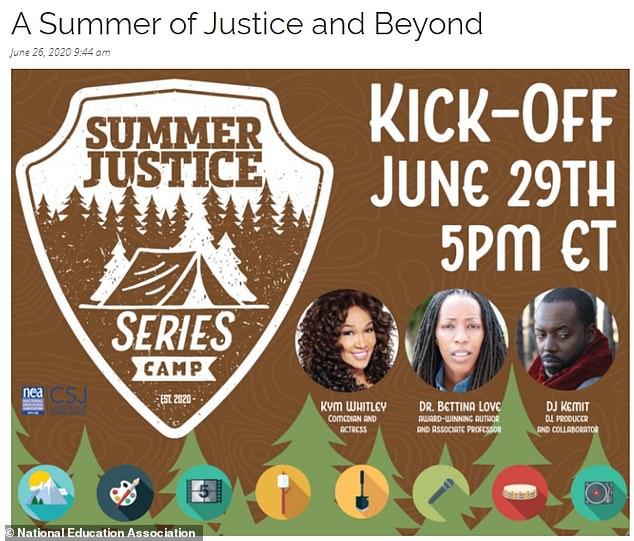 Een advertentie voor een evenement van de National Education Association uit juni 2020 promootte Bettina Love als spreker toen Harris-Aikens daar als senior director diende