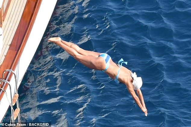 Nice dive!  King demonstrated her form while diving in the Mediterranean Sea