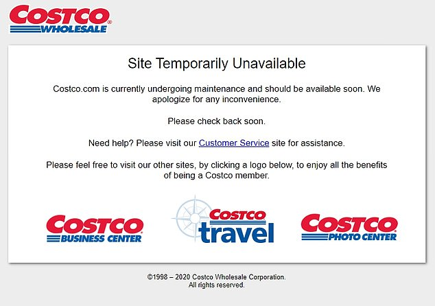 Costco's website was among those affected in what appeared to be a widespread internet outage on Thursday