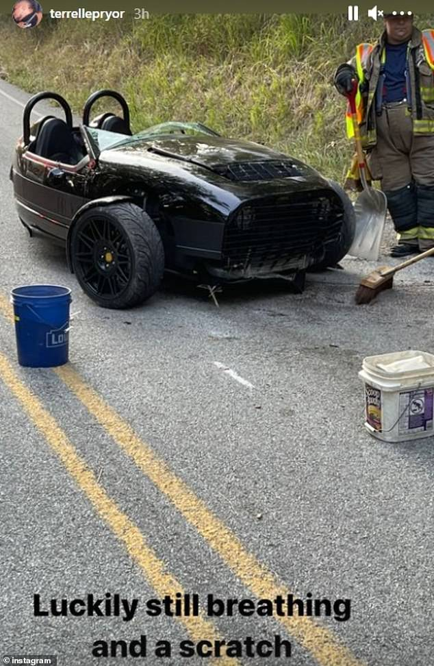 Terrelle Pryor posted a photo of his tricycle being bumped after a crash Thursday morning and wrote on Instagram that he was 'thankfully still breathing'