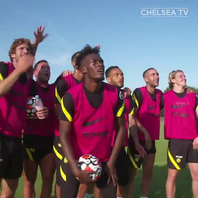 The winning team consisted of Marcos Alonso (left), Callum Hudson-Odoi (front) and Hakim Ziyech (second from right)