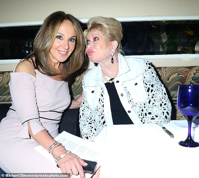Pimple on!  Ivana Trump (right) dined at New York hotspot Fresco by Scotto on Wednesday.  The restaurant is owned by Good Day New York, co-host Rosanna Scotto (left) and her New family
