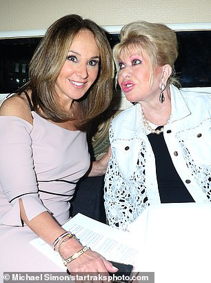 Say Cheese!  The Czech-born socialite made a kissy face as she posed for photos with Rosanna, who looked elegant in a pale pink off-the-shoulder dress