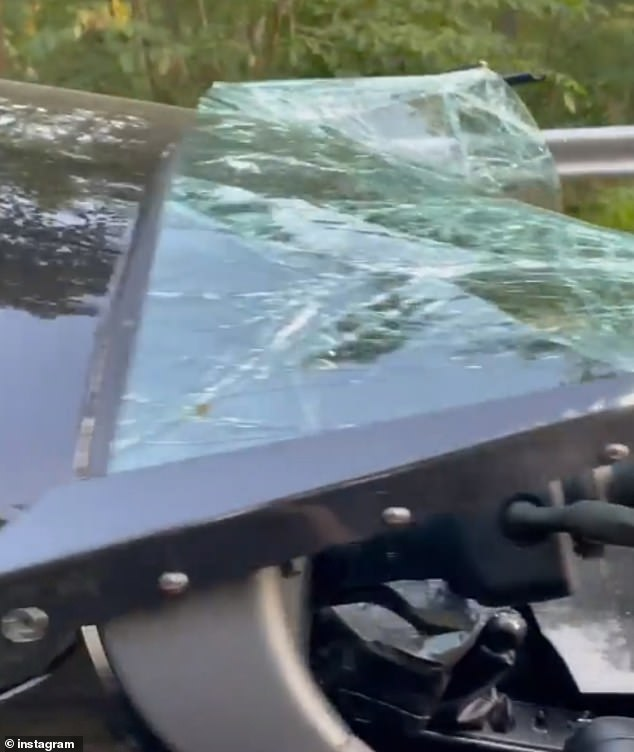 Pryor said the bike flipped over twice when it was hit by a car, showing $30,000 damage to the vehicle - including the windshield that was completely smashed