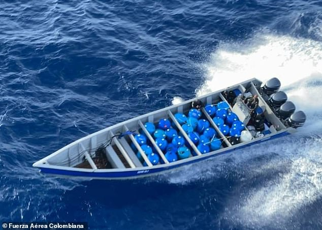 The speed boat loaded with over a ton and half of cocaine was stopped 45 miles off the Colombian island of San Andrés on Sunday