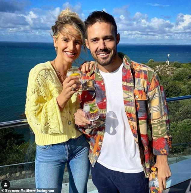 Growing up: The former Made In Chelsea star, 32, - who is the owner of non-alcoholic spirits brand CleanCo - has said he now has a 'positive relationship with alcohol' (picture with wife Vogue Williams)