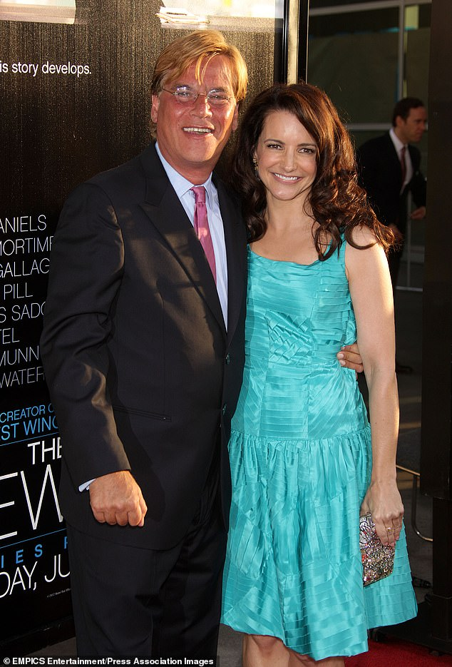 Ex: Sorkin's most public romance before Porizkova was with Sex And The City star Kristin Davis, whom he dated on and off between 2012 and 2014 (pictured in 2012)