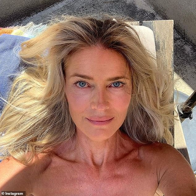 Newly single: Paulina Porizkova, 56, took to Instagram on Thursday to share a sunbathing selfie while griping about her issues with the dating app Hinge after her account was disabled