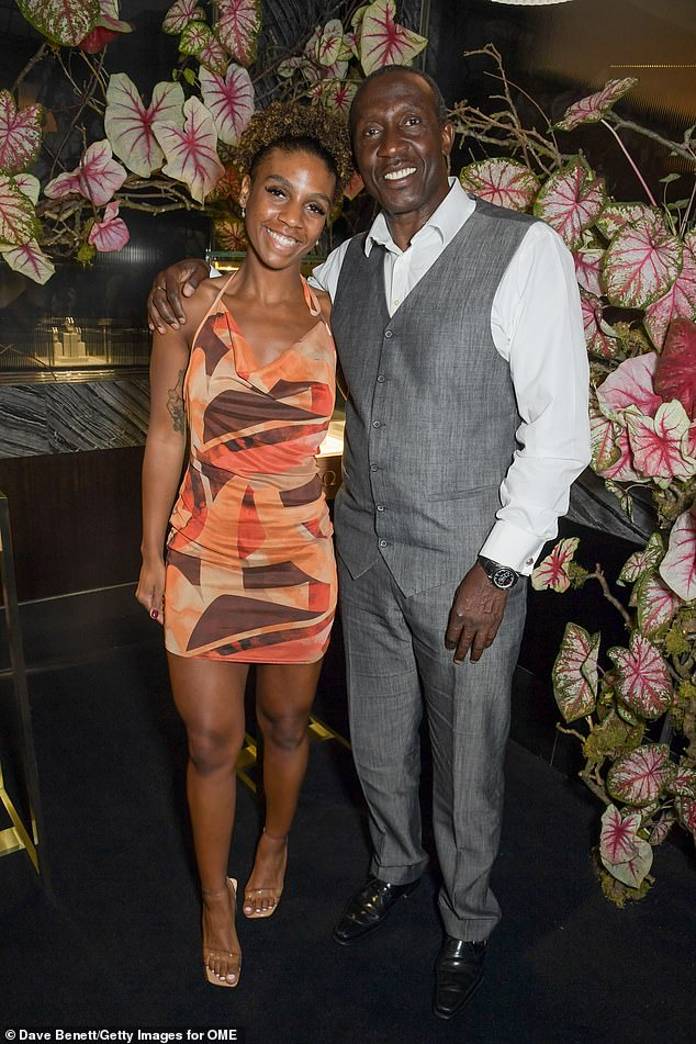 Suave:Former Olympic sprinter Linford Christie also attended the dinner where he donned a grey waistcoat with matching trousers and a white shirt