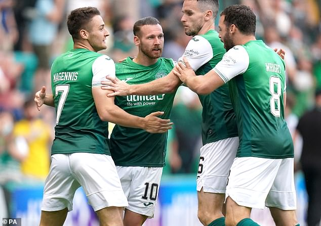 Hibernian defeated Santa Coloma 3-0 in the first leg of their second Europa Conference League qualifier