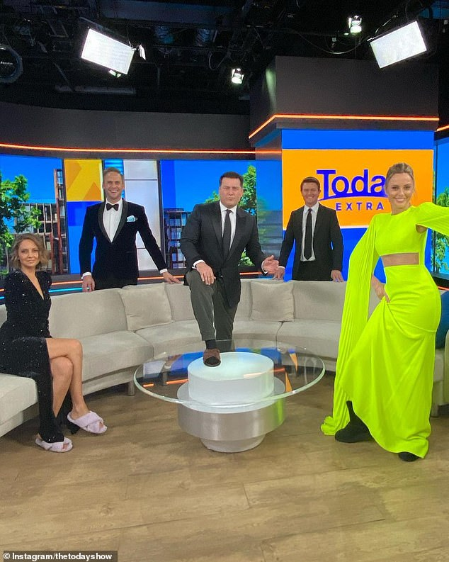 Ready for the ball:The Today show teamed decided to dress up for Friday's episode to 'fancy up' their lockdown, which looks set to continue for many more weeks