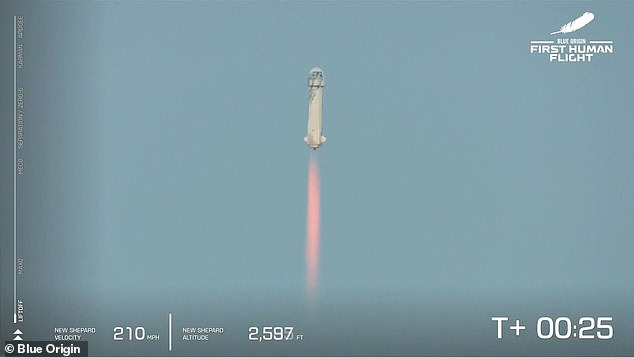 The New Shepard launched the capsule carrying Jeff Bezos and three other passengers into space on Tuesday, 25 seconds after lift off