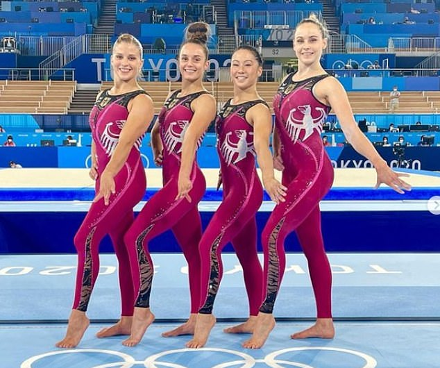 German gymnasts (L-R) Elisabeth Seitz, Pauline Schaefer, Kim Bui, and Sarah Voss debuted the team's unitards on Thursday in a picture posted to MsSchaefer's Instagram (pictured)