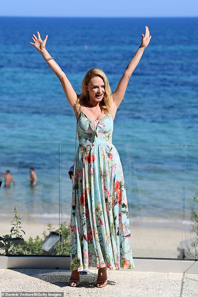 Radiant: Heather Graham, 51, looked radiant when she attended the Filming Italy festival on Friday, raising her arms in the air while posing for photographers