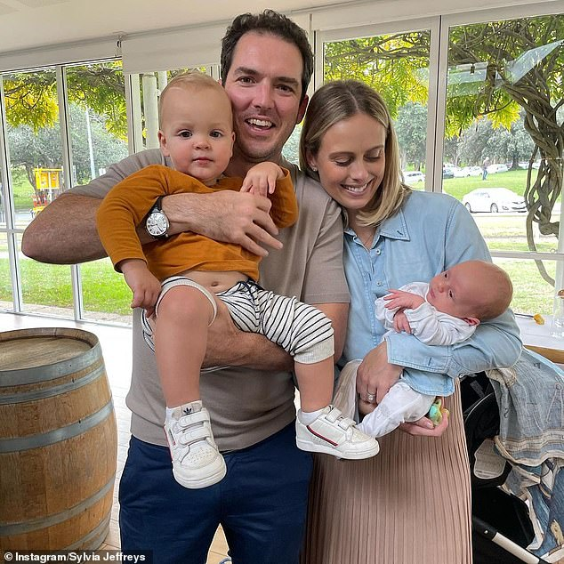 Young family: Sylvia and Peter recently welcomed their second son, Henry, on April 7.Last year, they welcomed their first son, Oscar Hamilton, who turned one in February