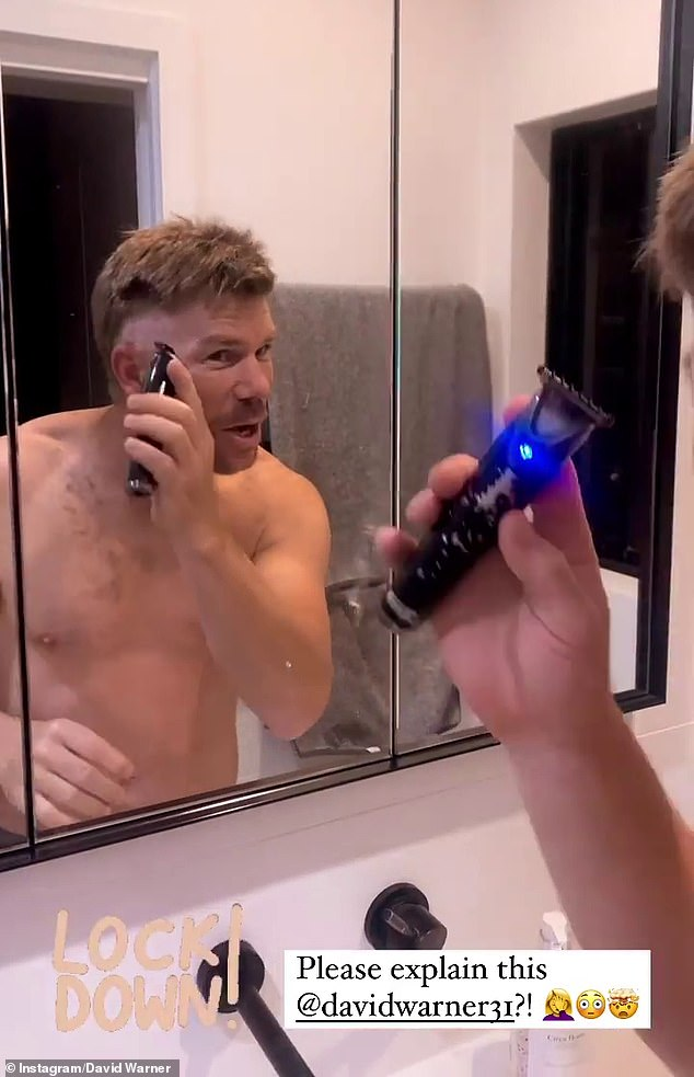 Oh no!David Warner was forced to cut his own hair this week during the Sydney lockdown. The cricketer, 34, shaved the sides of his head with an electric razor, which left him with a bogan-esque haircut