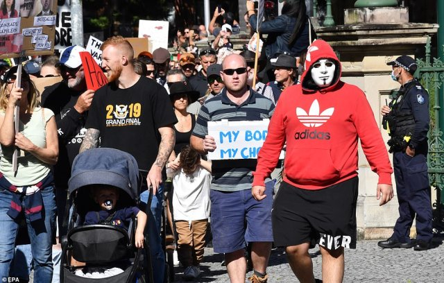 Protests were also held in Brisbane against lockdowns despite the Queensland capital not being under stay-at-home orders