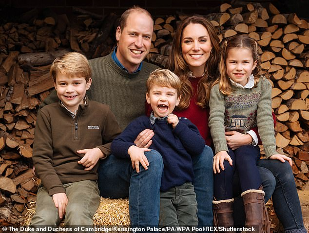 It has been claimed that Harry was concerned interest in him would begin to wane as Prince William's children, Prince George, eight, Princess Charlotte, six, and Prince Louis, three, got older. Pictured: The Duke and Duchess of Cambridge and their three children