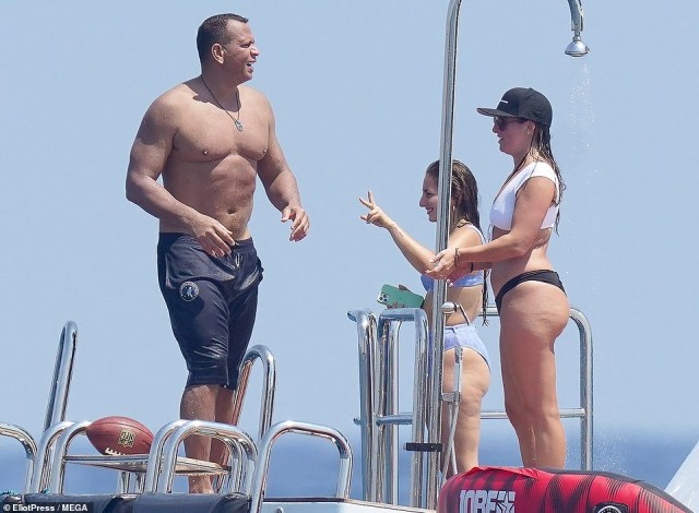 Meanwhile, the potential for an awkward encounter hung in the air, after JLo's ex Alex Rodriguez was spotted in the exact same area on Friday, cavorting with a bevy of bikini-clad women on a different yacht
