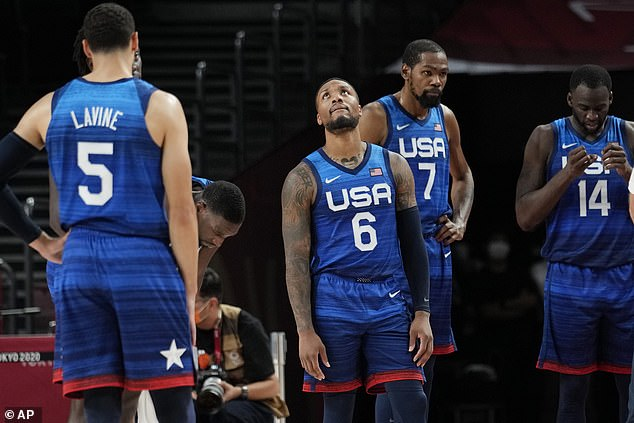 The American players cannot hide their disappointment after they lost to France on Sunday