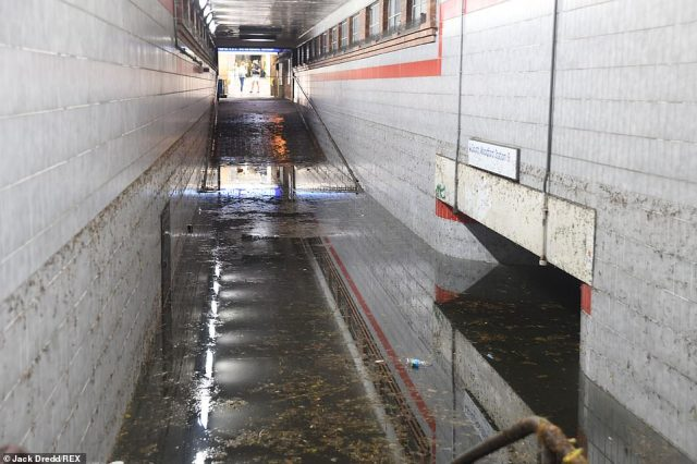 Under water: The subway at South Woodford Station, pictured today, has flooded after heavy rainfall yesterday afternoon