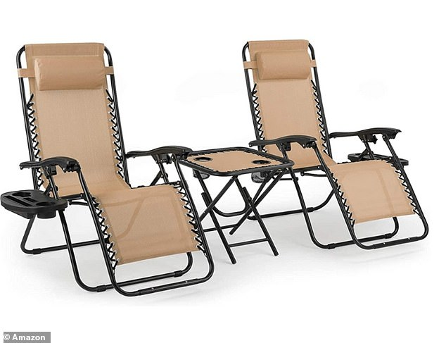 TheMVPower Sun Loungers Set of 2 Zero Gravity Chair Foldable with Side Table is now on sale for just £84.99 on Amazon