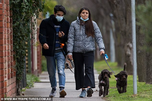 Siblings: Brooke was accompanied by her brother and they chatted as they walked
