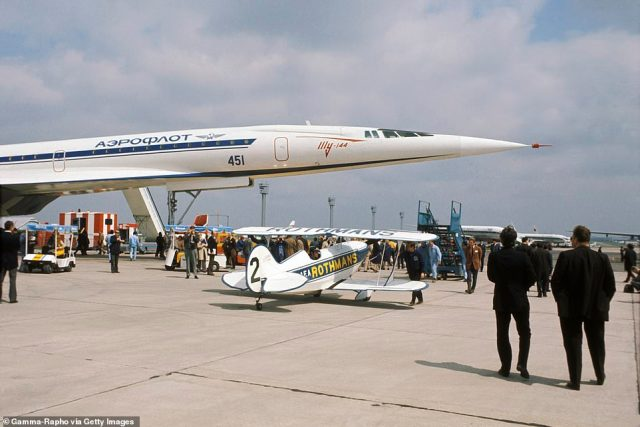 The Tu-144 is seen in France in 1973. On November 1, 1977 - the Tupolev Tu-144 finally welcomed customers on an Aeroflot route between Moscow and Alma-Ata (now Almaty) in Kazakhstan