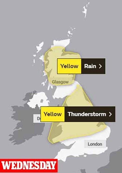 Wednesday's yellow storm and rain warnings