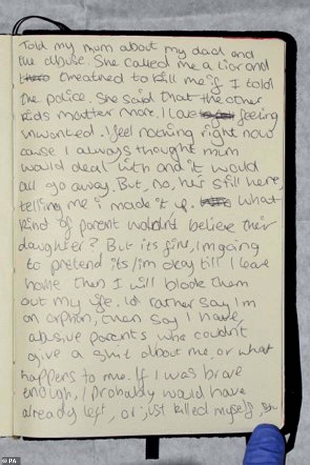 'I told my mum about my dad and the abuse. She called me a liar and threatened to kill me if I went to police': Bernadette's chilling diary entry about the abusive stepfather who has today been convicted of her murder