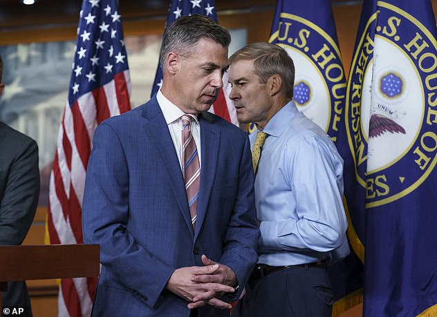 Pelosi said Sunday she would have appointed three McCarthy's picks, but 'the two that I would not appoint are people who would jeopardize the integrity of the investigation.' She's speaking of Reps. Jim Banks (left) and Jim Jordan's (right) who she rejected for the committee