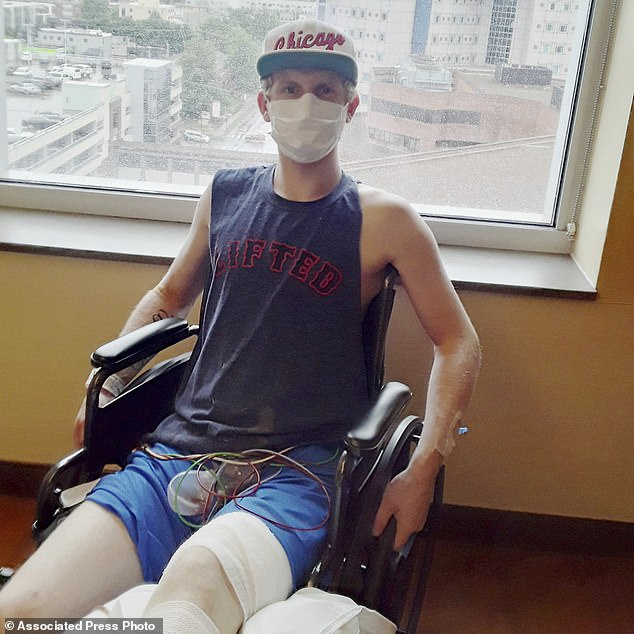 Preston Browning (pictured), 20, of Ridgetop, Tennessee who is recovering from cancer surgery, quit smoking with help from Vanderbilt Ingram Cancer Center. He says cancer is 'the biggest reason I've ever had in my life to quit.'