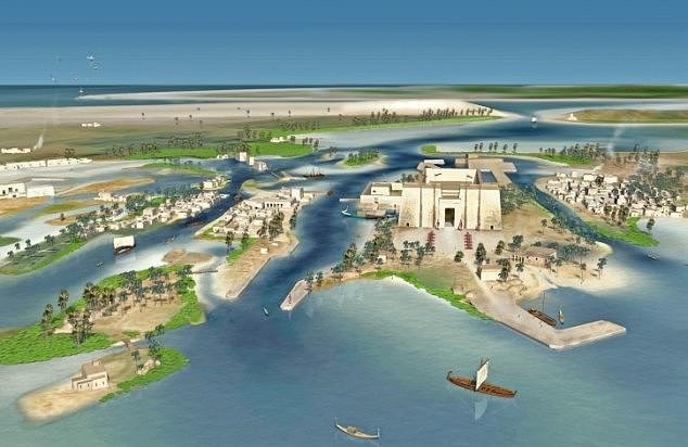 Real-life Atlantis: The sunken city of Heracleion, brought to life by the research team investigating the site 150ft under the sea where it now lays, including the main temple of Amun-Gerb, center-right