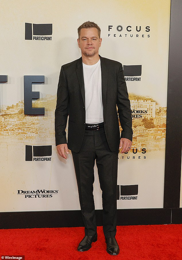 Spiffy:The Good Will Hunting star, 50, kept it smart and casual with a dark suit, paired with a simple white T-shirt