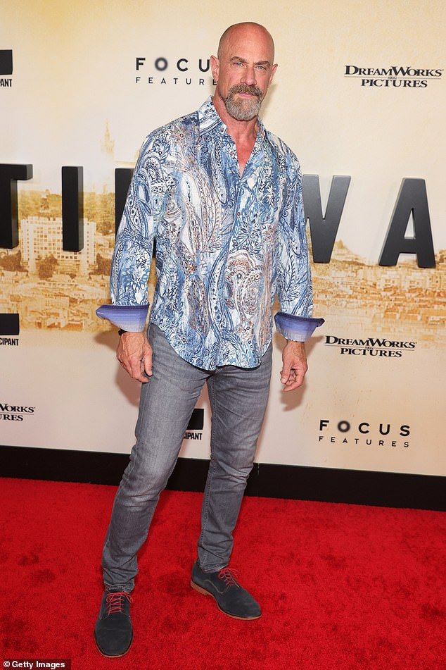 Quite a look: The ever-handsomeChristopher Meloni of Oz fame rocked a paisley shirt and grey jeans