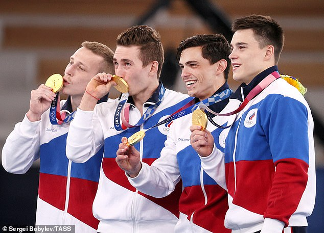 Russia was banned from several major international sporting events over mass doping dating back to the 2014 Sochi Winter Games, but some athletes are allowed to compete under a neutral flag. Pictured: The ROC team win gold for artistic gymnastics