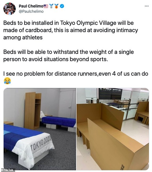 It comes after another American athlete, runner Paul Chelimo tweeted the cardboard beds were installed to 'avoid intimacy'