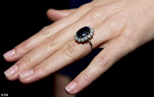 Prince William's bride Kate Middleton wore a sapphire and diamond cluster using a Sri Lankan stone