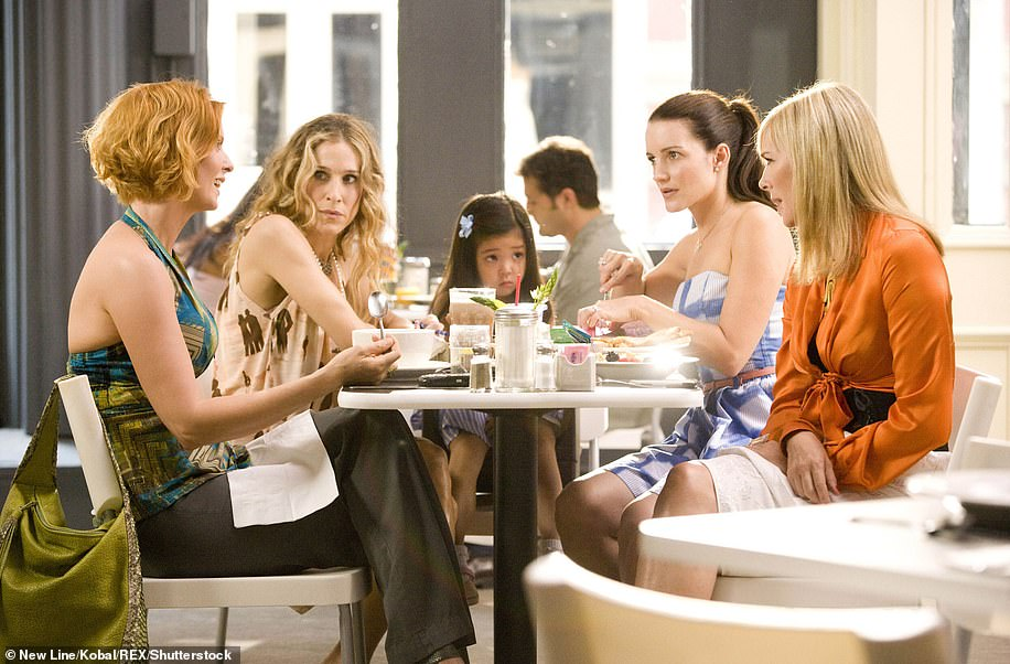 Sweet: Lily proved to be a little scene stealer as she appeared in the Sex And The City movie alongside (L-R)Cynthia, Sarah Jessica Parker, Kristin and Kim Cattrall