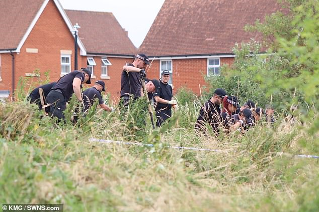 Prosecutor Andrew Jones told the court the victim is in a critical condition after being stabbed 'around 50 to 60 times'.Pictured: Police at the scene