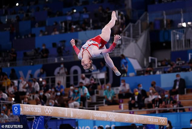 Alice Kinsella of Britain in action on the balance beam as Team GB recovered from a slow star