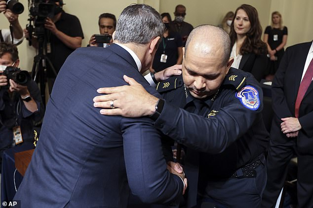 GOP Rep Adam Kinzinger hugs Gonnell before the start of the hearing