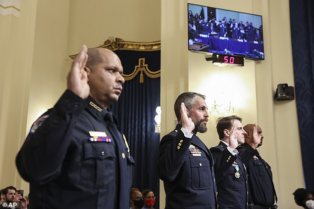 (From left to right) Officers Aquilino Gonell, Michael Fanone, Daniel Hodges and Harry Dunn gave emotional testimony to the panel of seven Democrats and two Republicans - Liz Cheney and Adam Kinzinger - describing how they feared the rioters would kill them and criticized the treatment of their colleagues
