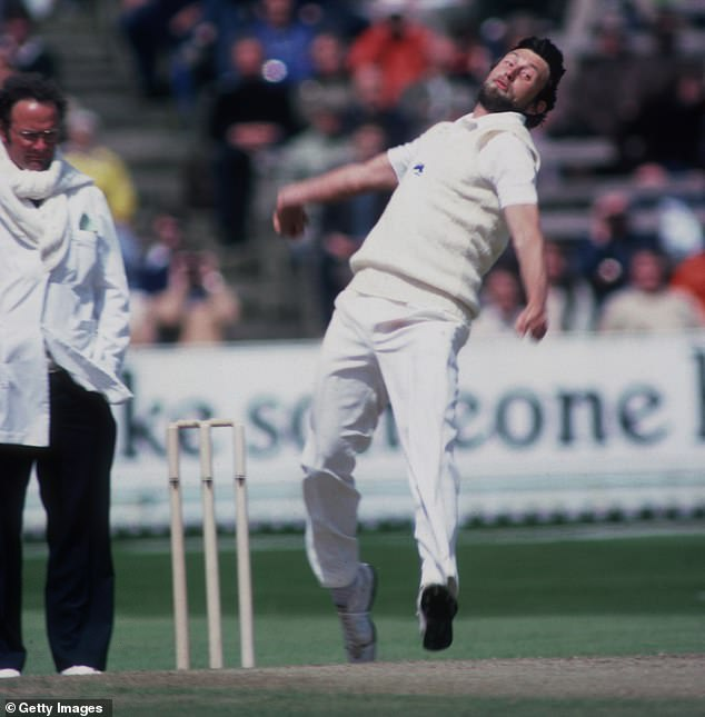 Hendrick bowls for England against Australia in a one-day match at Edgbaston in 1981